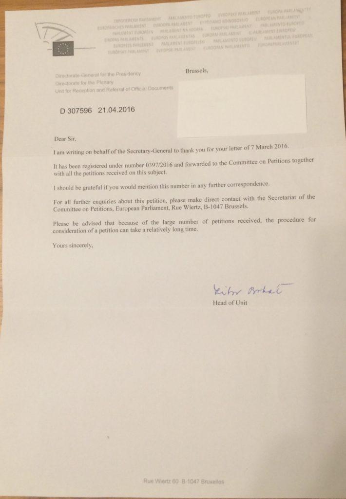 Cazul Bodnariu - Petiții către Uniunea Europeană